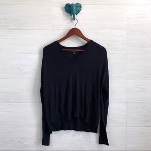 Topshop Navy V Neck Wool Blend Thin Knit Sweater